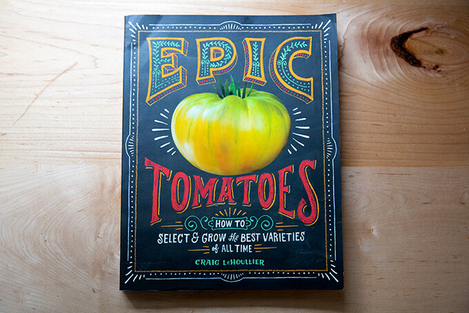 Epic Tomatoes, a book, on a counter.
