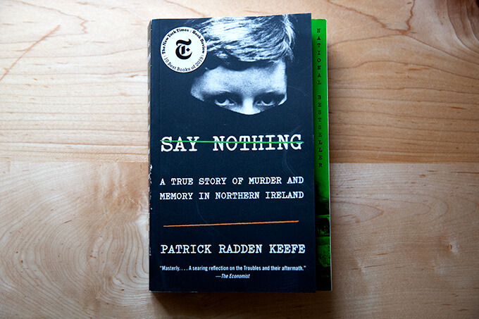 The book, Say Nothing, on a counter.
