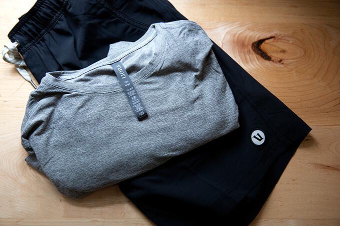 Vuori shorts and long-sleeve shirt.