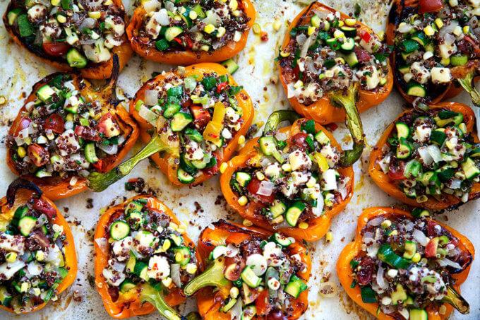 veggie loaded stuffed bell peppers.
