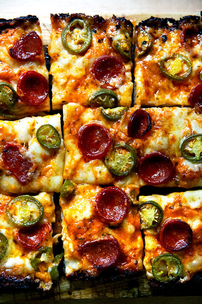Detroit-style pizza topped with pepperoni and pickled jalapeños.