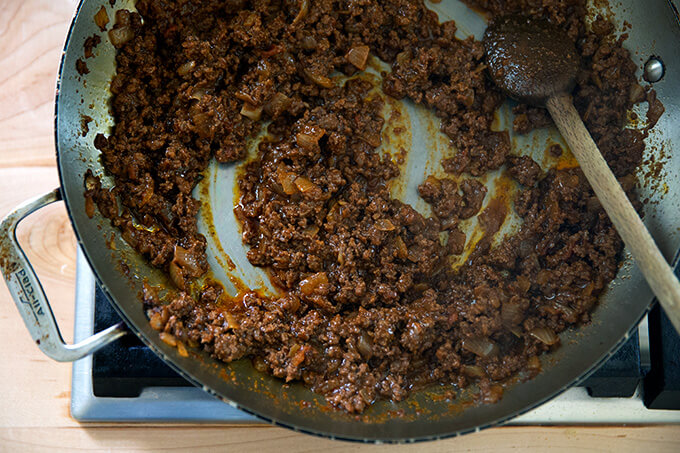 Taco mix in a skillet.