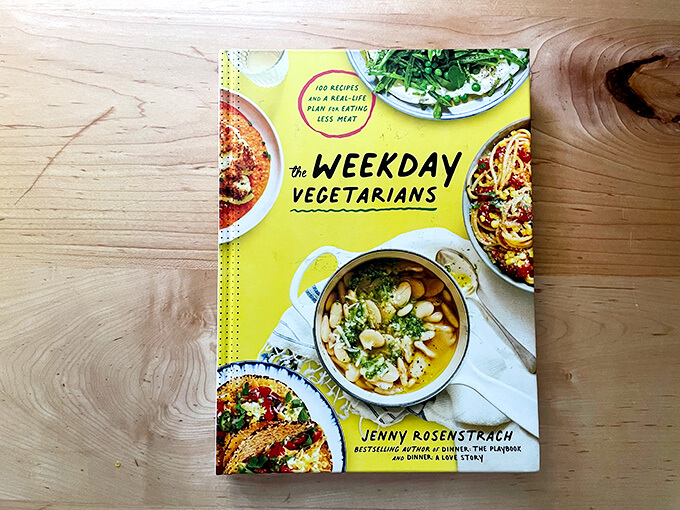 A book, The Weekday Vegetarians, on a countertop.