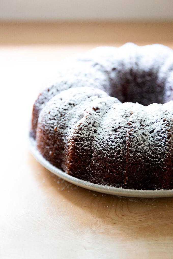 Powdered-sugar dusted applesauce bundt cake.