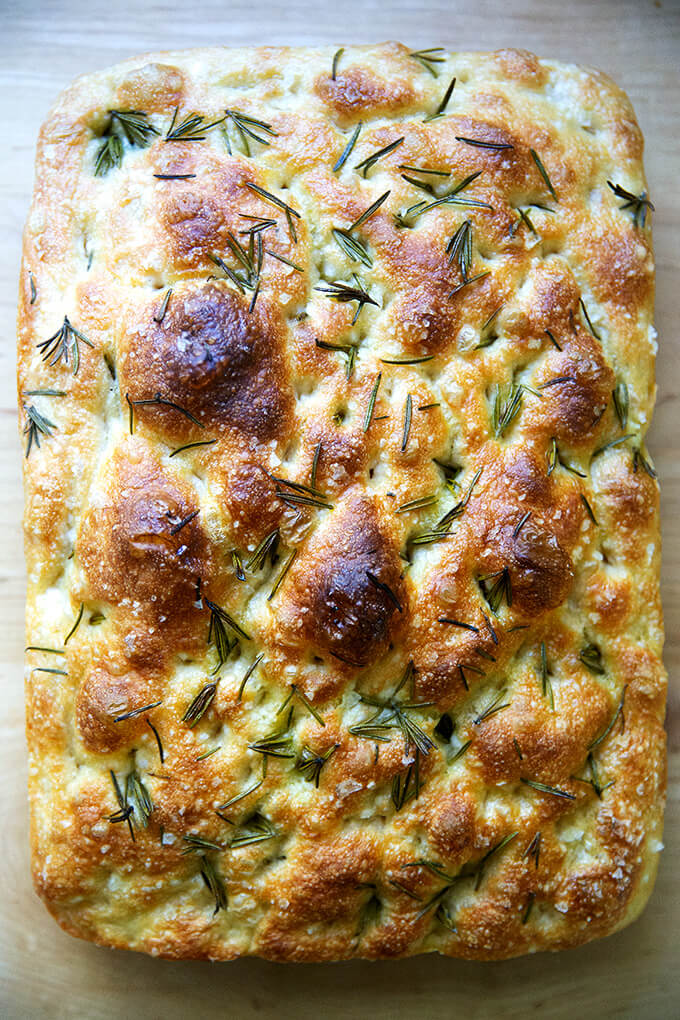 Just baked rosemary focaccia.