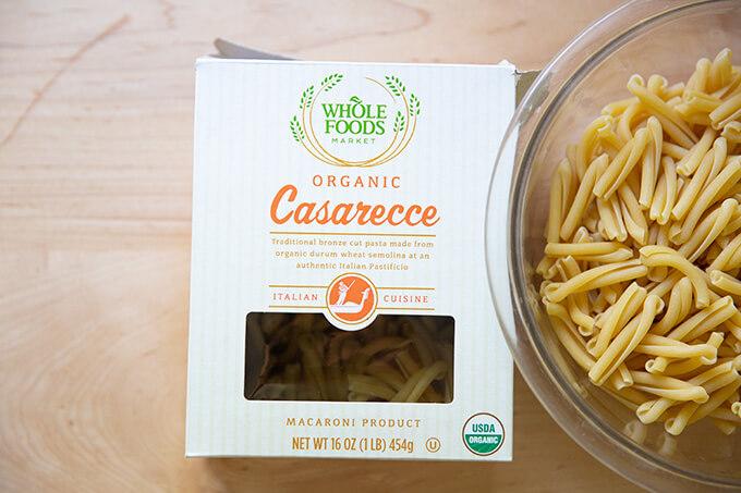 Casarecce pasta box.