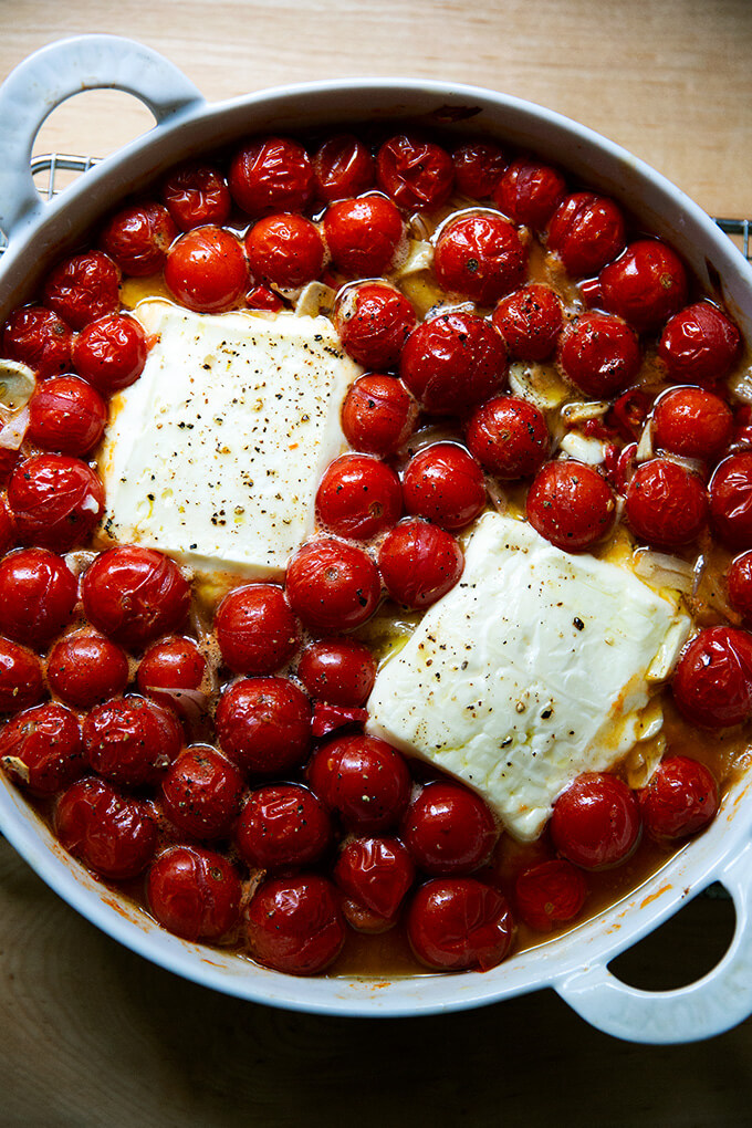Baked feta and tomato just out of the oven.