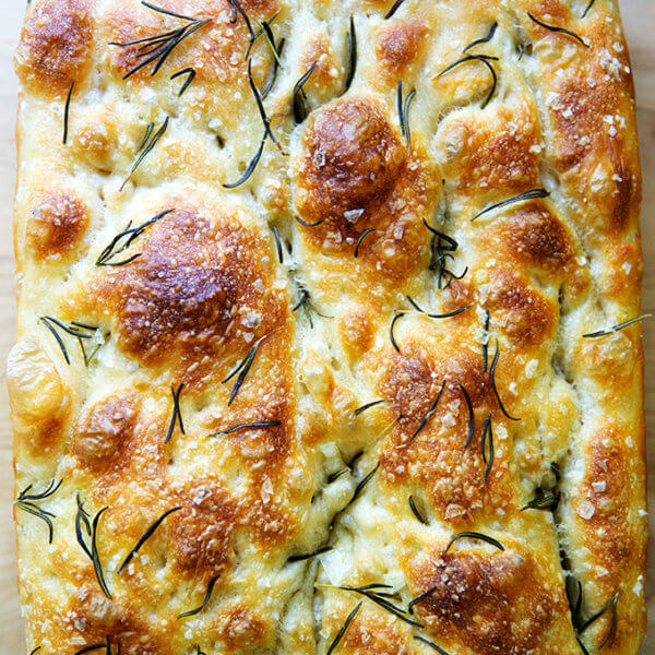 Just-baked rosemary focaccia.