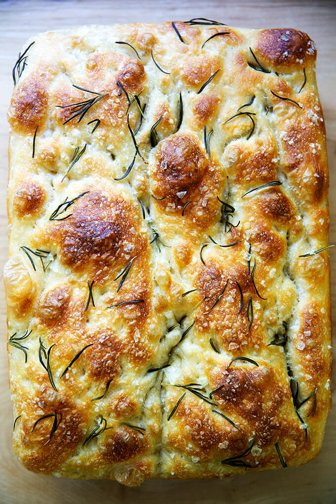 A just baked loaf of rosemary focaccia.