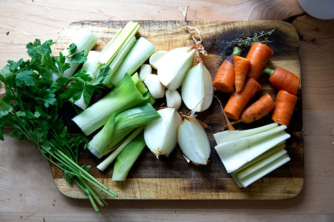 A board of vegetables to make vegetables stock.